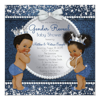 Denim Diamonds Ethnic Gender Reveal Shower Card