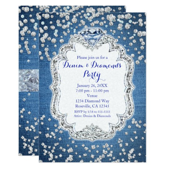Denim & Diamonds Glam Scattered Bling Invitations