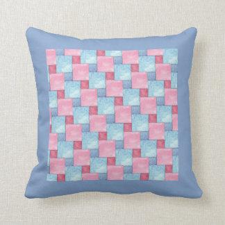 Denim Faux Patchwork, Pinks, Blues Cushion