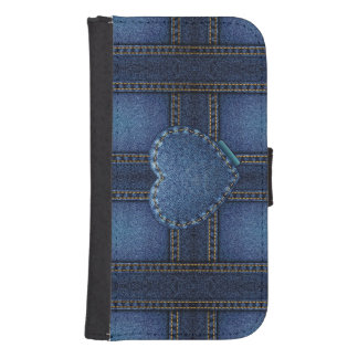 Denim Heart Samsung S4 Wallet Case
