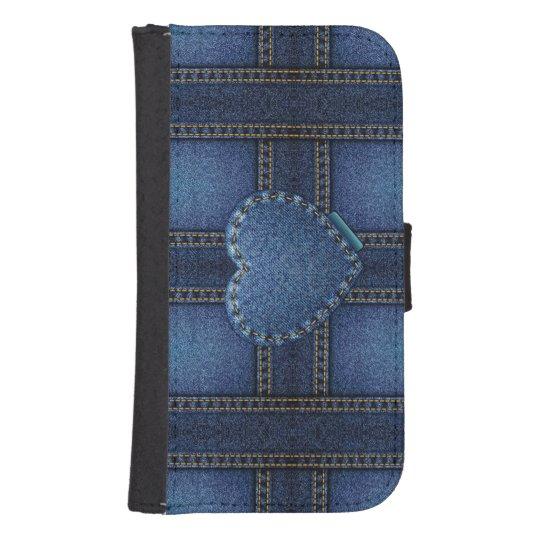 Denim Heart Samsung S4 Wallet Case