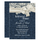 Denim & Ivory Lace Wedding Rehearsal Dinner Invitation