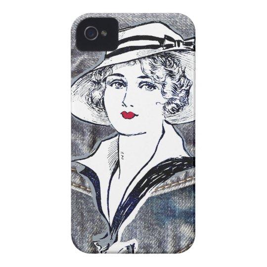Denim/jean design & vintage ladies fashion print iPhone
