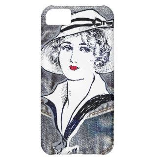 Denim/jean design & vintage ladies fashion print iPhone 5C case