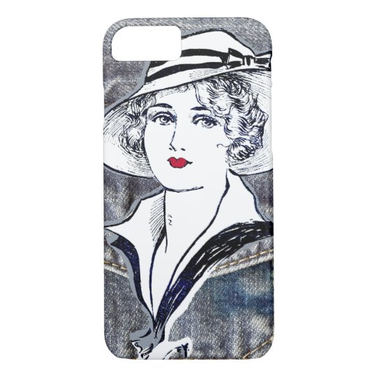 Denim/jean design & vintage ladies fashion print iPhone