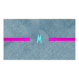 Denim Jeans Modern Trendy Monogram Girly Country Pack Of Standard Business Cards