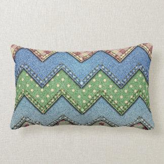 Denim jeans patchwork pattern pillow