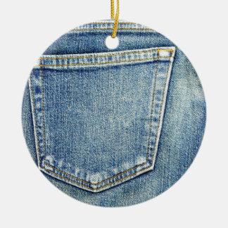 Denim Jeans Pocket Blue Fabric style fashion rich Christmas Ornament