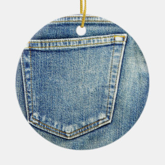 Denim Jeans Pocket Blue Fabric style fashion rich Double-Sided Ceramic Round Christmas Ornament