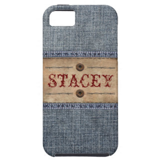 Denim Jeans Tag with Your Name Case For The iPhone 5