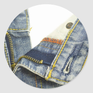 Denim jeans zipper classic round sticker