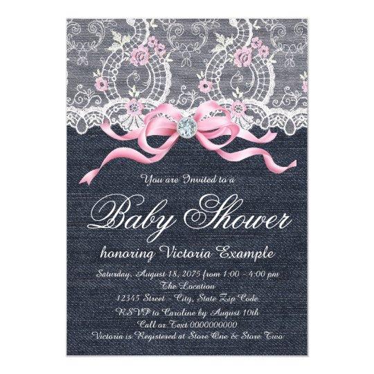 Denim Lace Diamond Bow Baby Shower Card