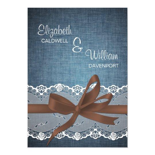 Denim Lace Ribbon & Bow Wedding Invitation