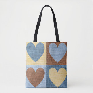 Denim-Linen Hearts-Blue-Sophisticated-Handbag-Tote Tote Bag