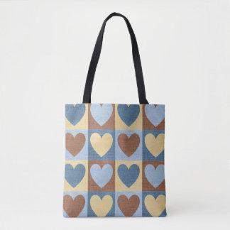 Denim-Linen Small Hearts-Blue-Handbag-Totes Tote Bag