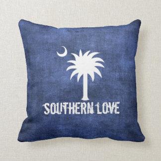 Denim Look South Carolina Love Palmetto Tree Throw Pillow
