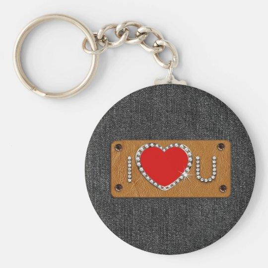 Denim Love. Valentine's Day Gift  Keychain