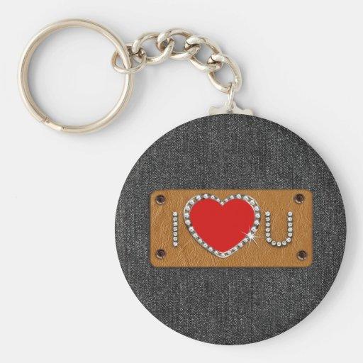 Denim Love. Valentine's Day Gift  Keychain Keychains