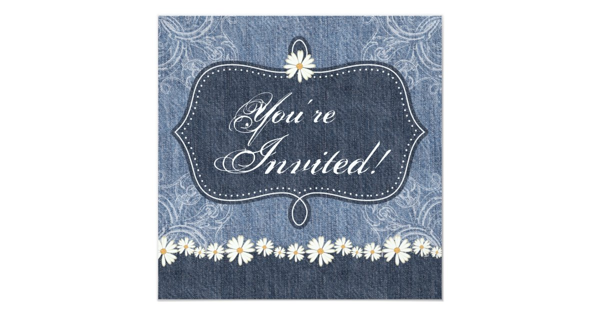 Denim Wedding Invitations: Denim N Daisies Wedding Invitation Western