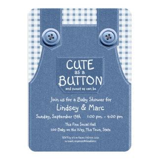Denim Overalls Cute as a Button Blue 11 Cm X 16 Cm Invitation Card