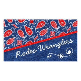 Denim Paisley Cute Floral Red White and Blue Jeans Double-Sided Standard Business Cards (Pack Of 100)
