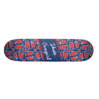 Denim Paisley Cute Floral Red White and Blue Jeans Custom Skate Board