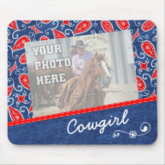 Denim Paisley Cute Floral Red White and Blue Jeans Mouse Pad
