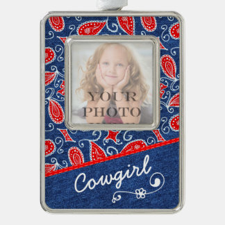 Denim Paisley Cute Floral Red White and Blue Jeans Silver Plated Framed Ornament