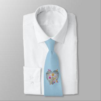 Denim Pocket Heart Flowers Butterflies on Blue Tie