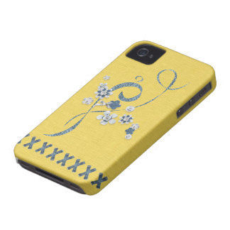 Denim Print Butter Cornflower Blue BlackBerryBold iPhone 4 Cover