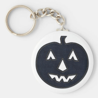 denim pumpkin key ring