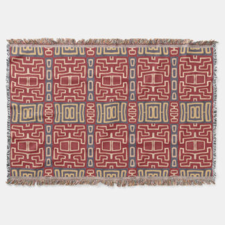 Denim, Red and Tan Tribal Throw
