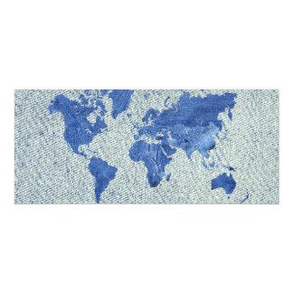 Denim World Map 10 Cm X 24 Cm Invitation Card