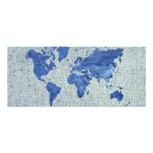 Denim World Map Personalized Announcements