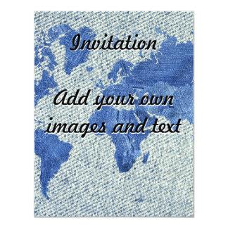 "Denim World Map 4.25"" X 5.5"" Invitation Card"