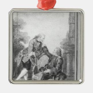 Denis Diderot and Melchior, baron de Grimm Silver-Colored Square Decoration