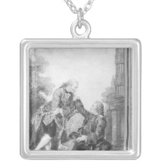 Denis Diderot and Melchior, baron de Grimm Silver Plated Necklace