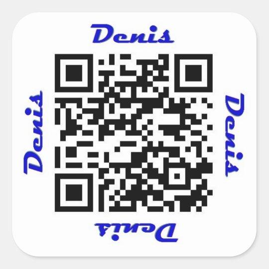 Denis QR Code Personalised NAME Sticker