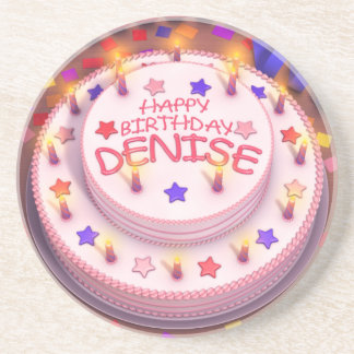 Denise s Birthday Cake Drink Coaster