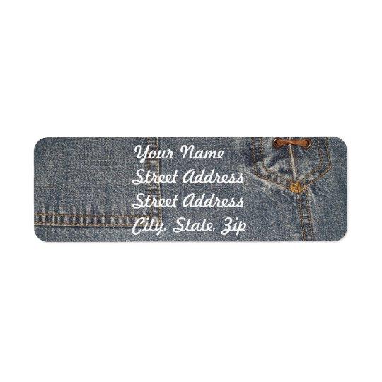 Denium Fabric Background Return Address Sticker Return Address Label