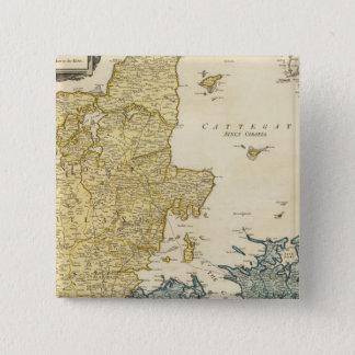 Denmark Atlas Map 15 Cm Square Badge