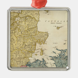 Denmark Atlas Map Christmas Ornament