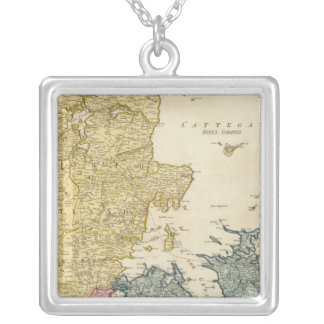 Denmark Atlas Map Silver Plated Necklace