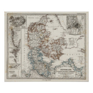 Denmark Atlas Map with 5 inset maps Poster