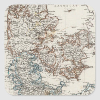 Denmark Atlas Map with 5 inset maps Square Sticker