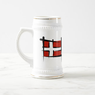Denmark Brush Flag Beer Stein