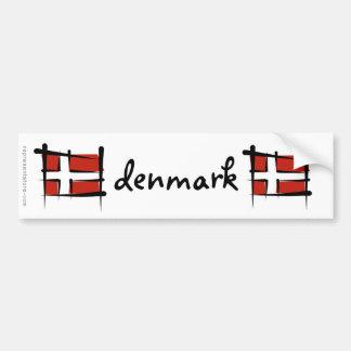 Denmark Brush Flag Bumper Sticker