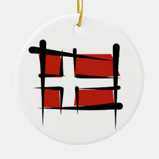 Denmark Brush Flag Christmas Ornament