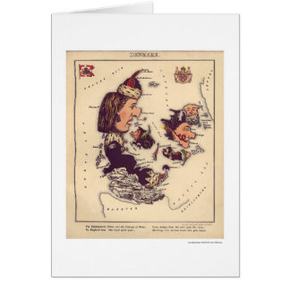 Denmark Caricature Map 1868 Card