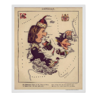 Denmark Caricature Map 1868 Print